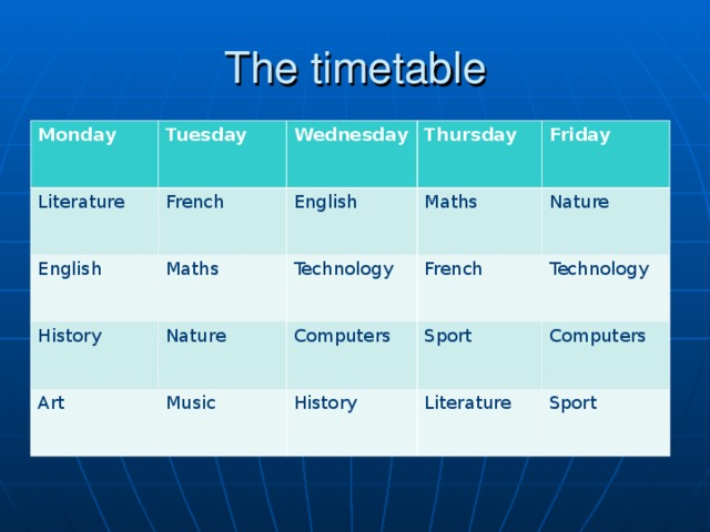 The timetable Monday Tuesday Literature Wednesday French English Thursday Maths English History Art Nature Technology Maths Friday French Music Nature Computers Technology Sport History Literature Computers Sport