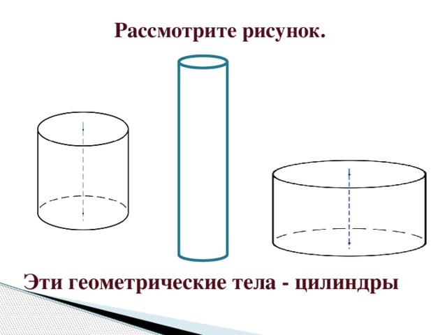 Рассмотрите рисунок.   Эти геометрические тела - цилиндры