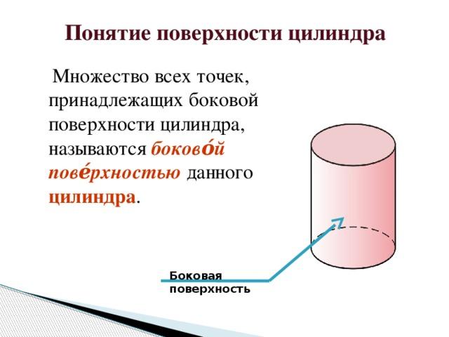 Понятие поверхности цилиндра  Множество всех точек, принадлежащих боковой поверхности цилиндра, называются боково́й пове́рхностью  данного цилиндра . Боковая поверхность