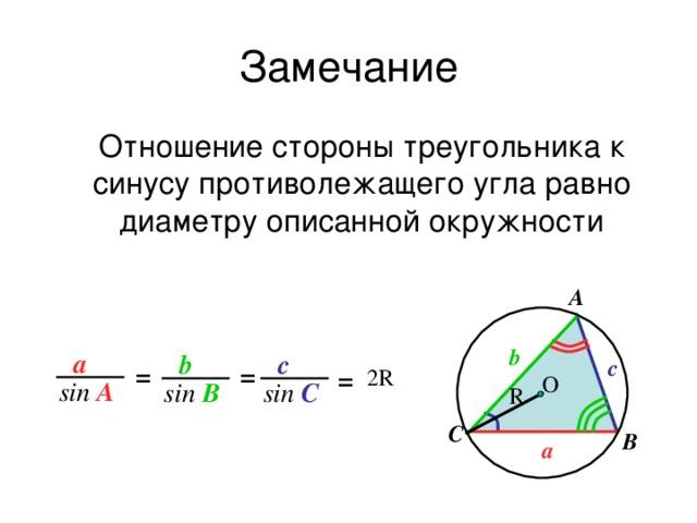 Замечание Отношение стороны треугольника к синусу противолежащего угла равно диаметру описанной окружности A b a b c c = = 2R = О sin A sin C sin B R С B a