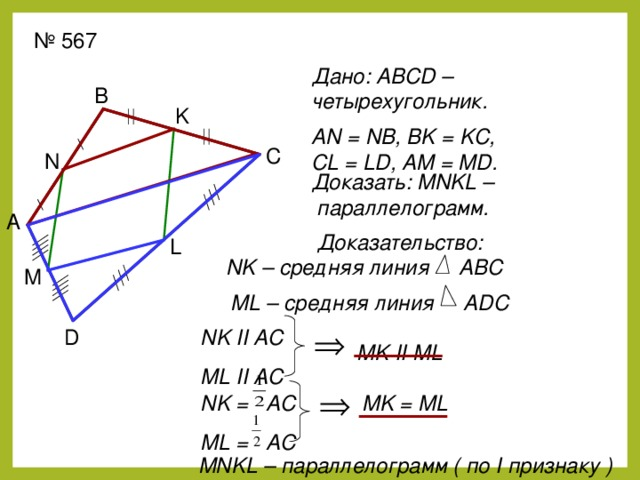 № 567 Дано: ABCD – четырехугольник. В K AN = NB, BK = KC, CL = LD, AM = MD. С N  Доказать: MNKL –  параллелограмм. А Доказательство: L NK – средняя линия ABC  M ML – средняя линия ADC NK II AC ML II AC D MK II ML MK = ML NK = AC ML = AC MNKL – параллелограмм ( по I признаку )