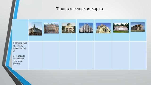 Технологическая карта 1.Определить стиль архитектуры 2. Назвать основной признак стиля