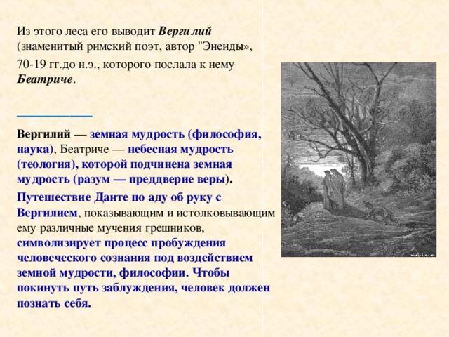 Из этого леса его выводит Вергилий (знаменитый римский поэт, автор