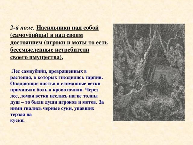 2-й пояс.  Насильники над собой (самоубийцы) и над своим достоянием (игроки и моты то есть бессмысленные истребители своего имущества).    Лес самоубийц, превращенных в растения, в которых гнездились гарпии. Опадающие листья и сломанные ветки причиняли боль и кровоточили. Через лес, ломая ветки неслись нагие толпы душ – то были души игроков и мотов. За ними гнались черные суки, упавших терзая на куски.