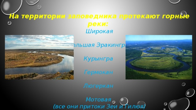 На территории заповедника протекают горные реки: Широкая  Большая Эракингра  Курынгра  Гермокан  Люгеркан  Мотовая (все они притоки Зеи и Гилюя)