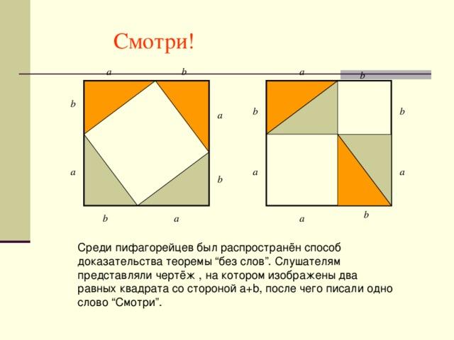 """Смотри! a b a b b b b a a a a b b a b a Среди пифагорейцев был распространён способ доказательства теоремы """"без слов"""". Слушателям представляли чертёж , на котором изображены два равных квадрата со стороной a+b, после чего писали одно слово """"Смотри""""."""