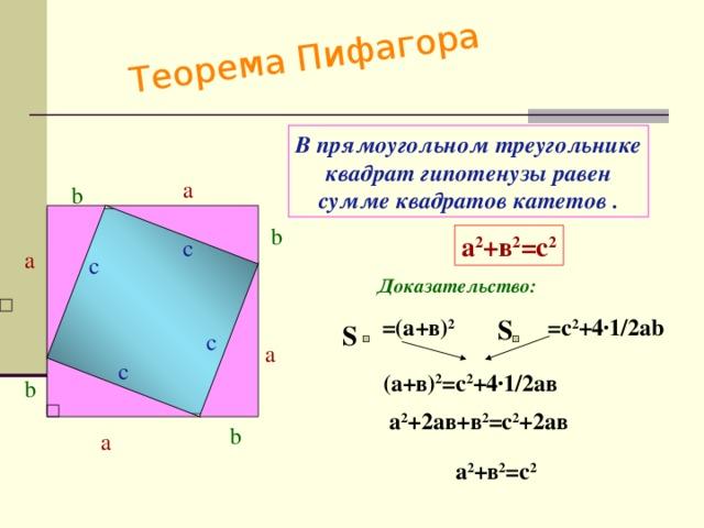 Теорема Пифагора В прямоугольном треугольнике квадрат гипотенузы равен сумме квадратов катетов . a b b а 2 +в 2 =с 2 c a c Доказательство:  =c 2 +4 ·1/2ab S =(а+в) 2 S c a c (а+в) 2 =с 2 +4 ·1/2ав b а 2 +2ав+в 2 =с 2 +2ав b a а 2 +в 2 =с 2