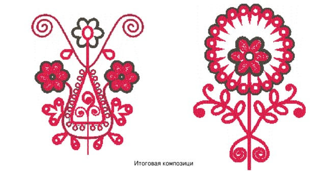 Итоговая композиция Липецкой вышивки.