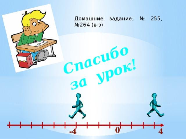 Спасибо за урок! Домашние задание: № 255, №264 (в-з) 0 -4 4