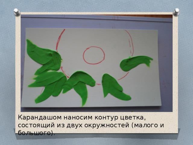 Карандашом наносим контур цветка, состоящий из двух окружностей (малого и большого).