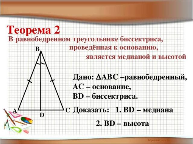 Теорема 2 В равнобедренном треугольнике биссектриса, проведённая к основанию,  является медианой и высотой B Дано:  АВС –равнобедренный, АС – основание, ВD – биссектриса. Доказать: 1. ВD – медиана    2. ВD – высота C A D