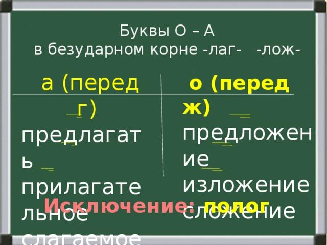 Буквы О – А  в безударном корне -лаг- -лож-  о (перед ж)  а (перед г) предлагать предложение прилагательное изложение слагаемое сложение Исключение: полог