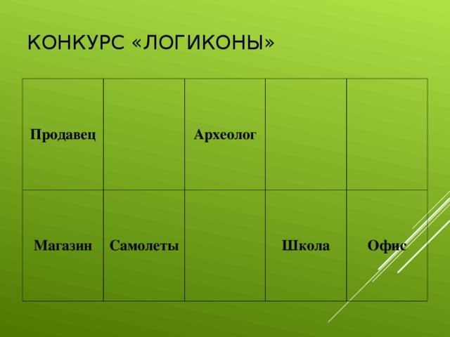 КОНКУРС «ЛОГИКОНЫ» Продавец Магазин Археолог Самолеты  Школа Офис