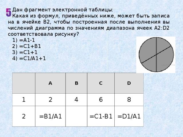 Дан фрагмент электронной таблицы: Какая из формул, приведённых ниже, может быть записана в ячейке В2, чтобы построенная после выполнения вычислений диаграмма по значениям диапазона ячеек A2:D2 соответствовала рисунку? 1) =А1-1 2) =С1+В1 3) =С1+1 4) =С1/А1+1 1 A 2 B 2 C 4 =В1/А1 D 6 8 =С1-В1 =D1/A1