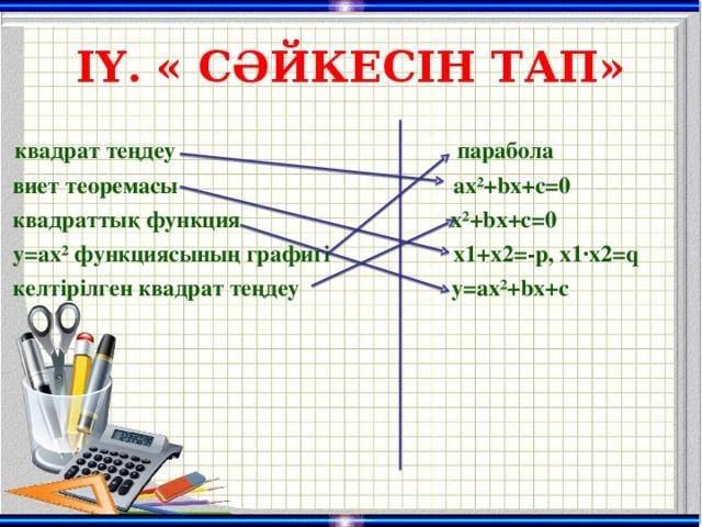 ІҮ. « СӘЙКЕСІН ТАП»  квадрат теңдеу    парабола  виет теоремасы ax²+bx+c=0  квадраттық функция x²+bx+c=0  y=ax² функциясының графигі  х1 +x2=-p, х1 ·x2=q  келтірілген квадрат теңдеу y=ax²+bx+c