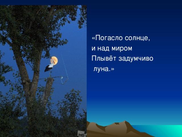 «Погасло солнце, и над миром Плывёт задумчиво  луна.»