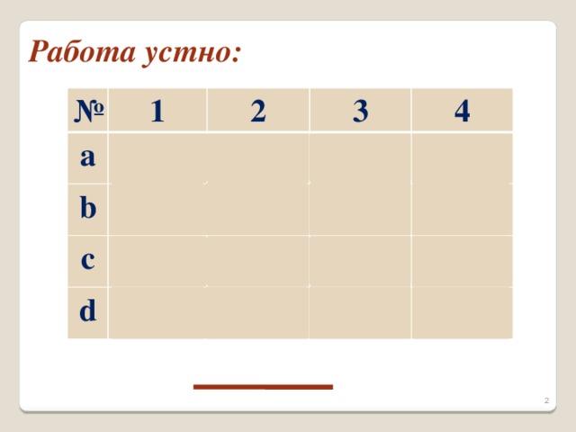 Работа устно: № a 1 b 2 3 c 4 d Е Е Н Р П
