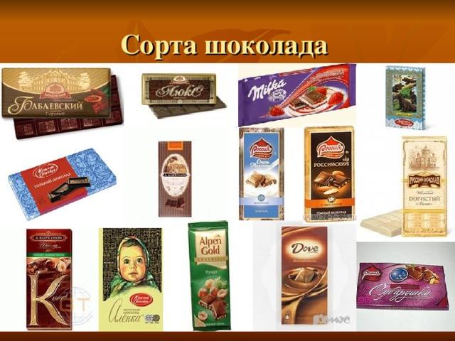 Сорта шоколада