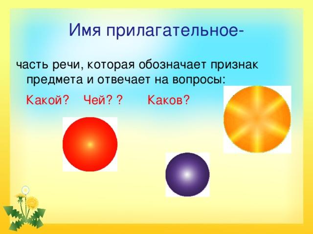 Имя прилагательное- часть речи, которая обозначает признак предмета и отвечает на вопросы:  Какой? Чей? ? Каков?