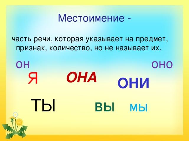Местоимение -  часть речи, которая указывает на предмет, признак, количество, но не называет их.  он оно  ОНИ  ТЫ вы мы  Я ОНА