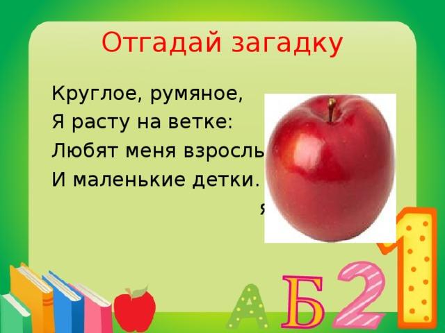 Отгадай загадку  Круглое, румяное,  Я расту на ветке:  Любят меня взрослые  И маленькие детки.  яблоко