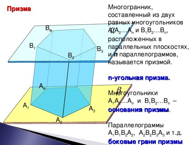 Многогранник, составленный из двух равных многоугольников А 1 А 2 …А n и В 1 В 2 …В n , расположенных в параллельных плоскостях, и n  параллелограммов, называется призмой.  n -угольная призма.  Многоугольники А 1 А 2 …А n и В 1 В 2 …В n  – основания призмы . Параллелограммы А 1 В 1 В 2 А 2 , А 2 В 2 В 3 А 3 и т.д. боковые грани призмы Призма B n B 1 B 3 B 2 А n А 1 А 3 А 2 7