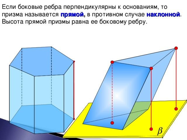 Если боковые ребра перпендикулярны к основаниям, то призма называется прямой , в противном случае  наклонной . Высота прямой призмы равна ее боковому ребру. 9