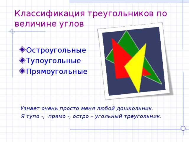 Классификация треугольников по величине углов Остроугольные Тупоугольные Прямоугольные  Узнает очень просто меня любой дошкольник.  Я тупо -, прямо -, остро – угольный треугольник.