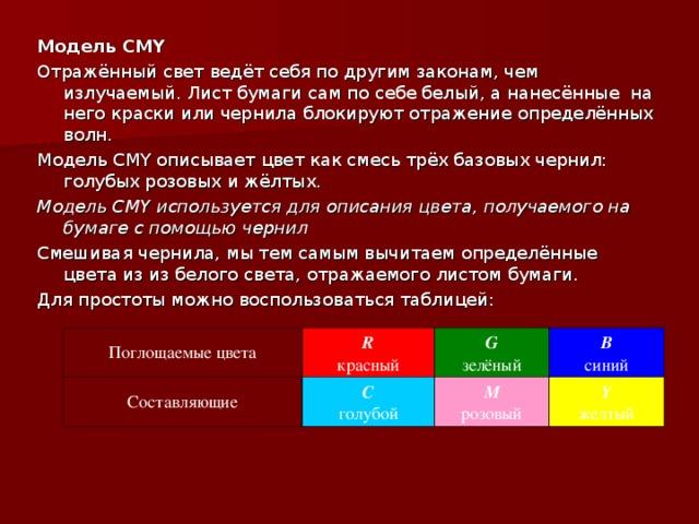 Модель CMY Отражённый свет ведёт себя по другим законам, чем излучаемый. Лист бумаги сам по себе белый, а нанесённые на него краски или чернила блокируют отражение определённых волн. Модель CMY описывает цвет как смесь трёх базовых чернил: голубых розовых и жёлтых. Модель CMY используется для описания цвета, получаемого на бумаге с помощью чернил Смешивая чернила, мы тем самым вычитаем определённые цвета из из белого света, отражаемого листом бумаги. Для простоты можно воспользоваться таблицей: Поглощаемые цвета R красный Составляющие G зелёный C голубой B синий M розовый Y желтый