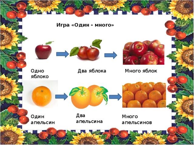 Игра «Один - много» Одно яблоко Два яблока Много яблок Два апельсина Один апельсин Много апельсинов