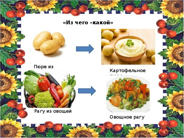 «Из чего –какой» Пюре из картофеля Картофельное пюре Рагу из овощей Овощное рагу