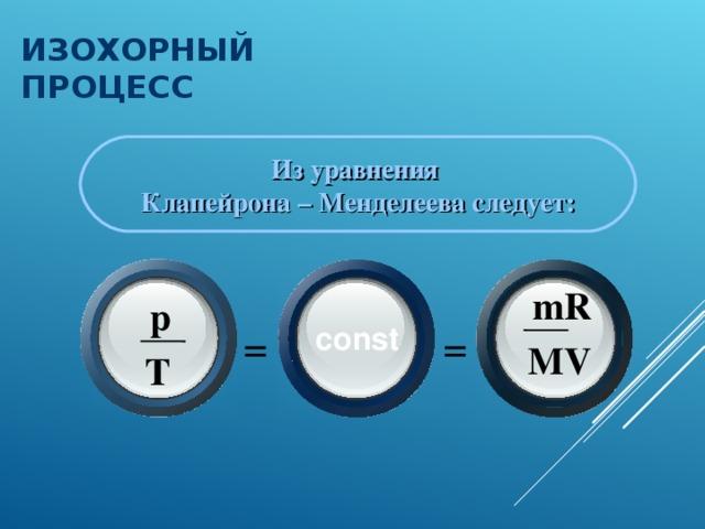 ИЗОХОРНЫЙ ПРОЦЕСС  Из уравнения Клапейрона – Менделеева следует: m R p = = const M V T