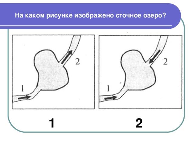 На каком рисунке изображено сточное озеро? 1 2