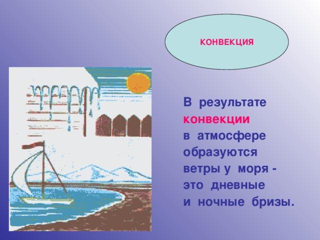КОНВЕКЦИЯ В результате конвекции  в атмосфере образуются ветры у моря - это дневные и ночные бризы.