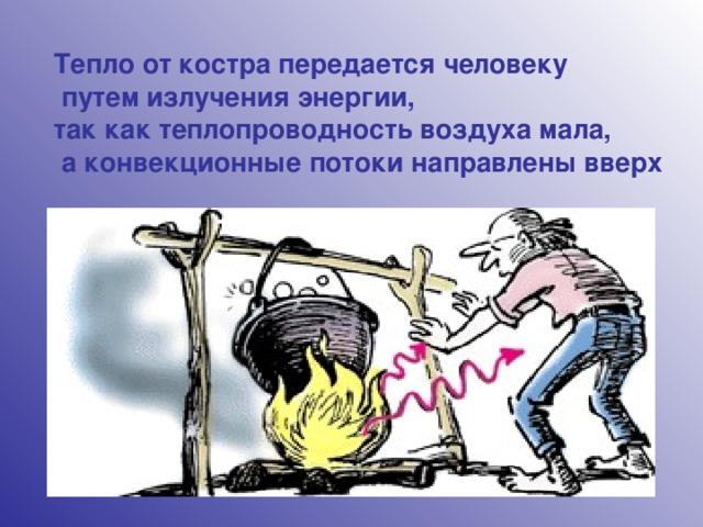 Тепло от костра передается человеку  путем излучения энергии, так как теплопроводность воздуха мала,  а конвекционные потоки направлены вверх