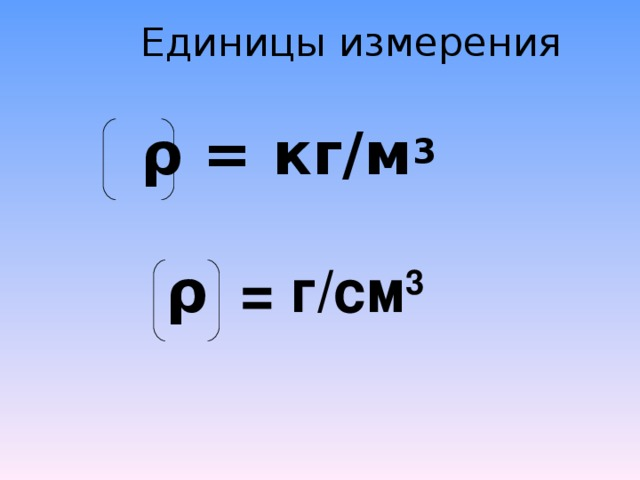 Единицы измерения  ρ = кг/м 3 ρ = г/см 3
