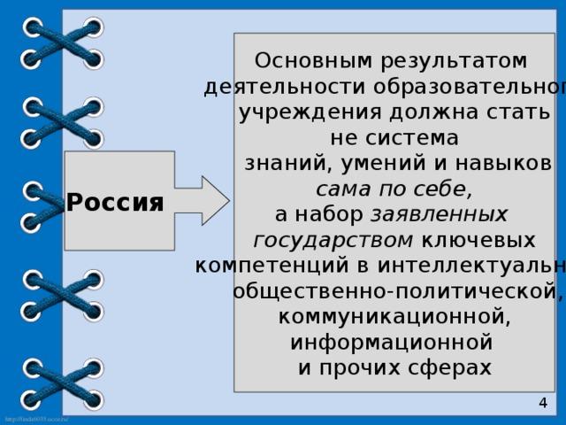 Основным результатом деятельности образовательного  учреждения должна стать не система  знаний, умений и навыков  сама по себе, а набор заявленных государством ключевых  компетенций в интеллектуальной,  общественно-политической,  коммуникационной, информационной и прочих сферах Россия 4