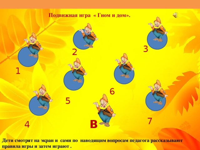 Подвижная игра « Гном и дом». 3 2 1 6 5 7 В 4 Дети смотрят на экран и сами по наводящим вопросам педагога рассказывают правила игры и затем играют .