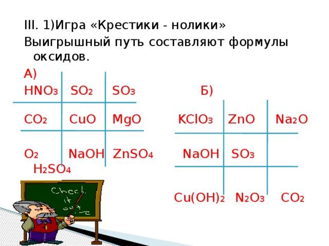 III. 1)Игра «Крестики - нолики» Выигрышный путь составляют формулы оксидов. А) HNO 3 SO 2 SO 3 Б) CO 2 CuO MgO KClO 3 ZnO Na 2 O O 2 NaOH ZnSO 4 NaOH SO 3 H 2 SO 4  Cu(OH) 2 N 2 O 3 CO 2