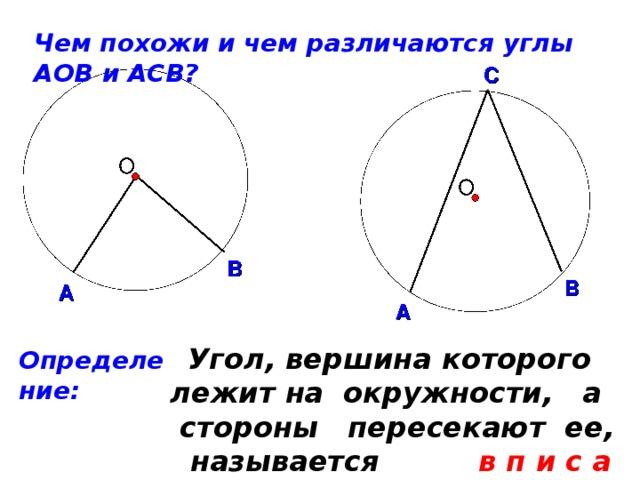Чем похожи и чем различаются углы АОВ и АСВ?  Угол, вершина которого лежит на окружности, а стороны пересекают ее, называется в п и с а н н ы м. Определение: