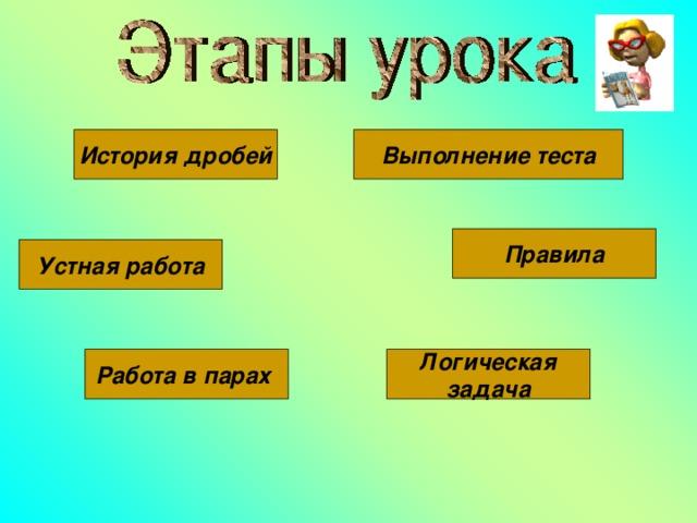 История дробей Выполнение теста Правила Устная работа Работа в парах Логическая задача