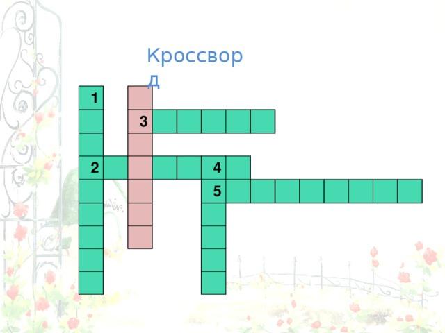 Кроссворд 1    2 3                4    5              1    3 2                4    5