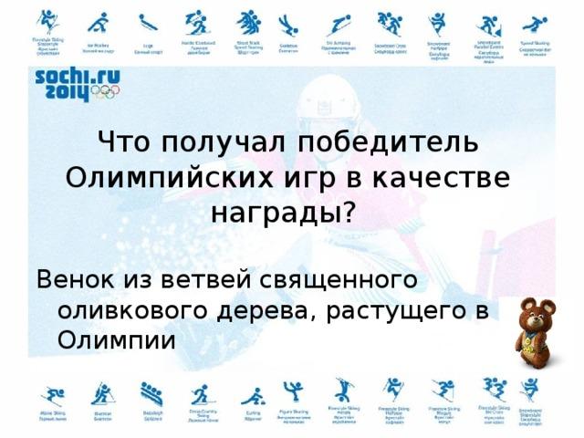 Что получал победитель Олимпийских игр в качестве награды? Венок из ветвей священного оливкового дерева, растущего в Олимпии
