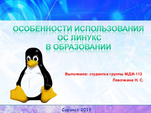 Выполнила: студентка группы МДИ-113  Левочкина Н. С.