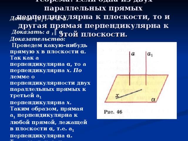 Теорема: Если одна из двух параллельных прямых перпендикулярна к плоскости, то и другая прямая перпендикулярна к этой плоскости.   Дано : а ║ а 1  , а ⊥ α .   Доказать:  а 1 ║ α Доказательство:  Проведем какую-нибудь прямую х в плоскости  α . Так как а перпендикулярна  α , то а  перпендикулярна х. По лемме о перпендикулярности двух параллельных прямых к третьей  а 1 перпендикулярна х. Таким образом, прямая а 1 перпендикулярна  к любой прямой, лежащей в плоскости α , т.е. а 1 перпендикулярна  α . Теорема доказана.