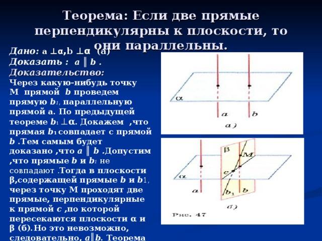 Теорема: Если две прямые перпендикулярны к плоскости, то они параллельны. Дано: a ⊥α , b ⊥α (а) Доказать :   a ║ b . Доказательство: Через какую-нибудь точку M прямой b проведем прямую b 1 , параллельную прямой a. По предыдущей теореме b 1 ⊥ α .  Докажем ,что прямая b 1 совпадает с прямой b .Тем самым будет доказано ,что a ║ b . Допустим ,что прямые b и b 1  не совпадают . Тогда в плоскости β,содержащей прямые b и b 1, через точку М проходят две прямые, перпендикулярные к прямой c ,по которой пересекаются плоскости α и β (б).Но это невозможно, следовательно, a ║ b . Теорема доказана.