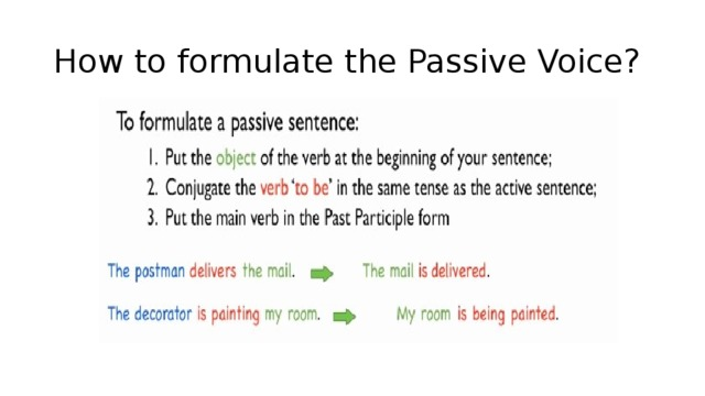 How to formulate the Passive Voice?