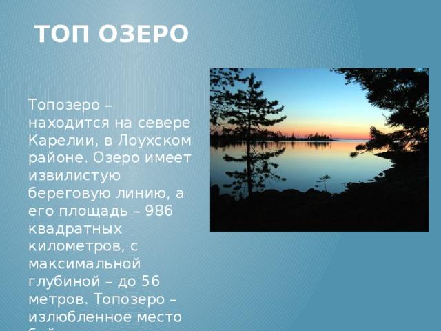 Топ озеро Топозеро – находится на севере Карелии, в Лоухском районе. Озеро имеет извилистую береговую линию, а его площадь – 986 квадратных километров, с максимальной глубиной – до 56 метров. Топозеро – излюбленное место байдарочников, а особенно – рыбаков.