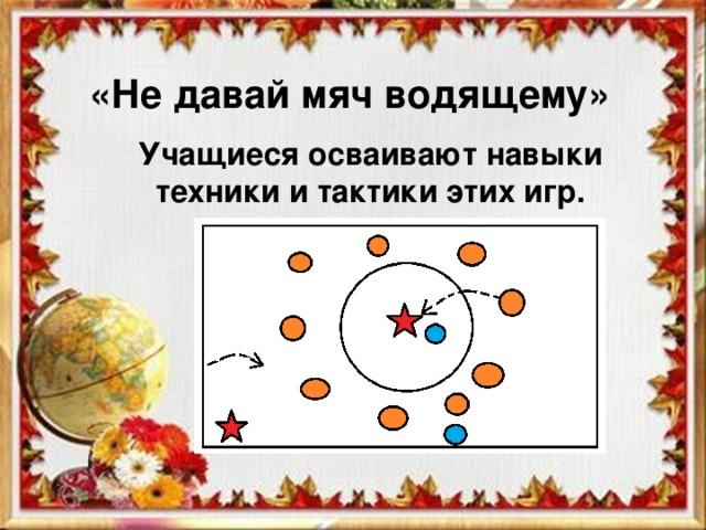 «Не давай мяч водящему» Учащиеся осваивают навыки техники и тактики этих игр.