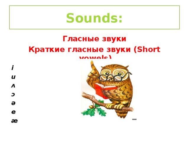 Sounds: Гласные звуки Краткие гласные звуки (Short vowels) i u ʌ ɔ ə e æ